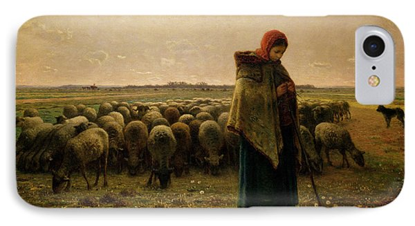 Rural Scenes iPhone 8 Case - Shepherdess With Her Flock by Jean Francois Millet