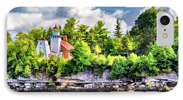 IPhone Case featuring the painting Sherwood Point Lighthouse by Christopher Arndt