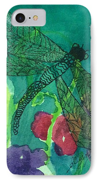 Shimmering Dragonfly W Sweetpeas Square Crop IPhone Case