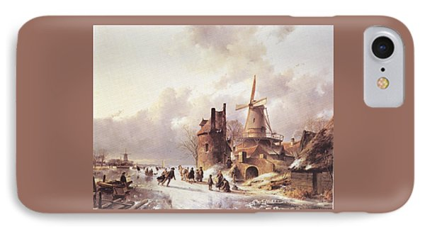 Skaters On A Frozen River IPhone Case