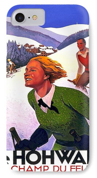 Skiing In Le Hohwald, Alsace - France - Vintage Travel Poster IPhone Case