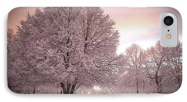 Snow Tree At Dusk IPhone Case