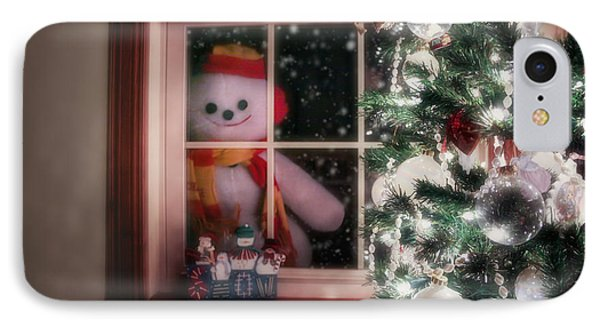Knit Hat iPhone 8 Case - Snowman At The Window by Tom Mc Nemar