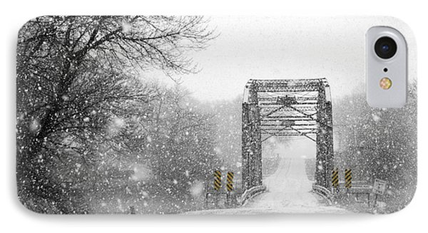 Snowy Day And One Lane Bridge IPhone Case