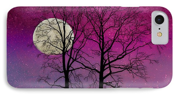 Solitude II Harvest Moon, Pink Opal Sky Stars IPhone Case