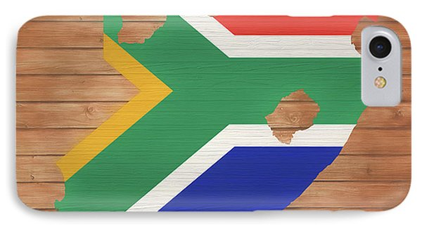 Republic Of South Africa iPhone 8 Case - South African Rustic Map On Wood by Dan Sproul
