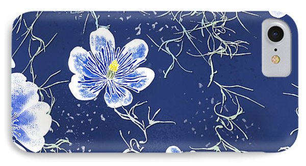 Indigo Batik Tile 4 - Spanish Moss IPhone Case