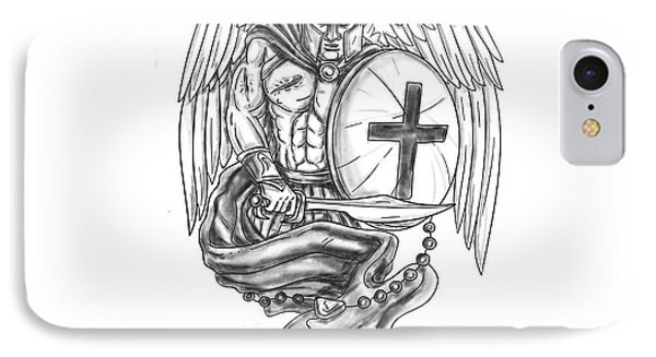 Spartan Warrior Angel Shield Rosary Tattoo IPhone Case