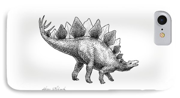 Spike The Stegosaurus - Black And White Dinosaur Drawing IPhone Case