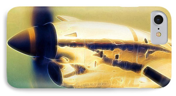 Spinning Propeller Pratt And Whitney Pw118a Turbo-prop In Flight IPhone Case