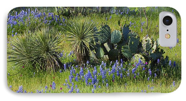 Spring Cactus, Yucca And Blue Bonnets IPhone Case