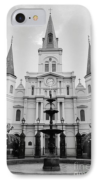 St Louis Cathedral And Fountain Jackson Square French Quarter New Orleans Black And White IPhone Case