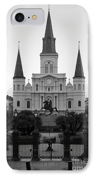 St Louis Cathedral On Jackson Square In The French Quarter New Orleans Black And White IPhone Case