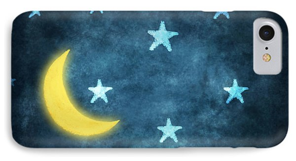 Stars And Moon Drawing With Chalk IPhone Case