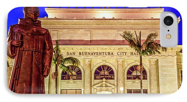Statue Of Saint Junipero Serra In Front Of San Buenaventura City Hall IPhone Case