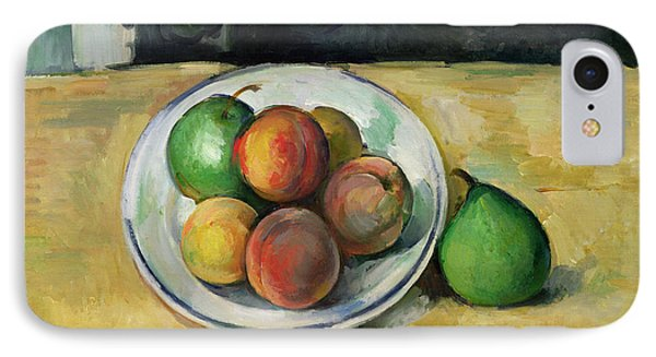 Fruit iPhone 8 Case - Still Life With A Peach And Two Green Pears by Paul Cezanne