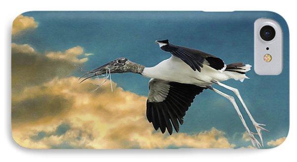 Stork Bringing Nesting Material IPhone Case