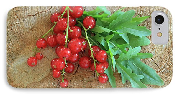 Summer, Red Berries And Rucola On Wooden Board IPhone Case