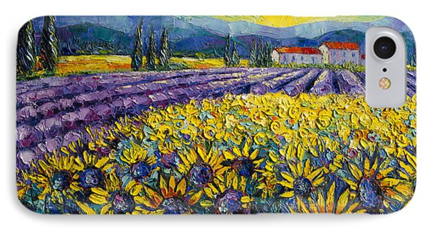 Sunflowers And Lavender Field - The Colors Of Provence Modern Impressionist Palette Knife Painting IPhone Case