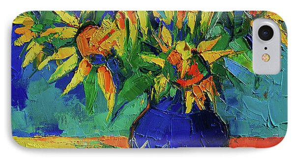 Beauty In Nature iPhone 8 Case - Sunflowers In Blue Vase by Mona Edulesco