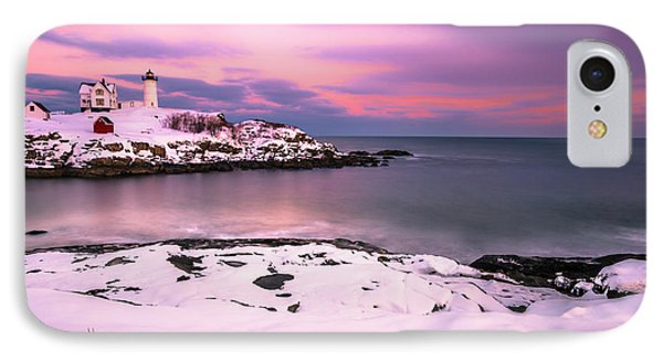 Sunset At Nubble Lighthouse In Maine In Winter Snow IPhone Case