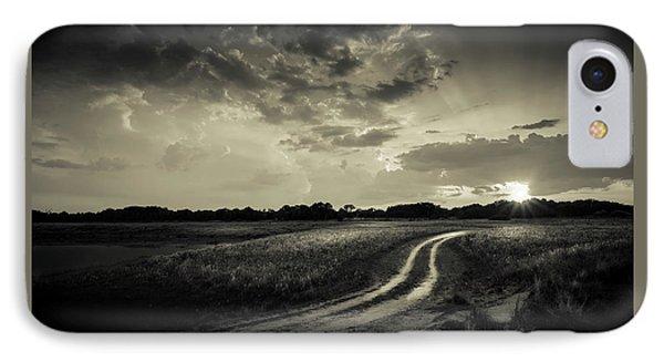 Sunset Lane-bw IPhone Case