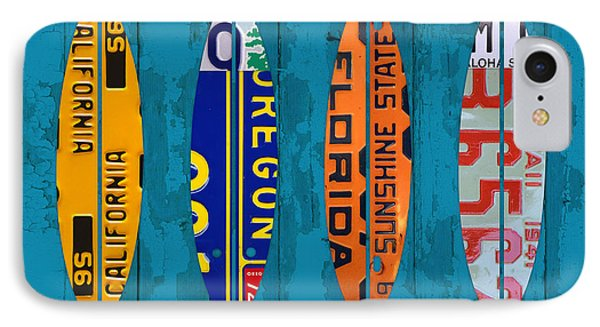 Surfs Up Surf Board Beach Ocean Decor Recycled Vintage License Plate Art IPhone Case