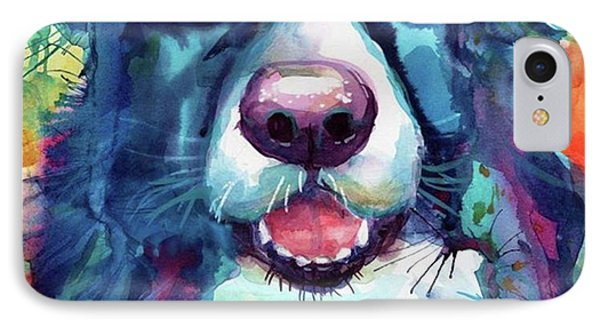 Surprised Border Collie Watercolor IPhone Case
