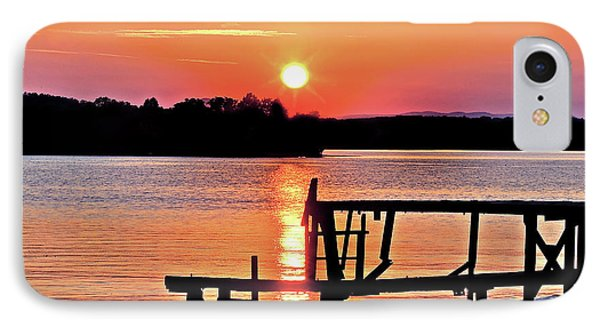 Surreal Smith Mountain Lake Dock Sunset IPhone Case
