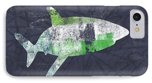 Swimming With Sharks 2- Art By Linda Woods IPhone Case