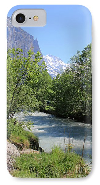 Switzerland Valley With Alps And River In Spring IPhone Case