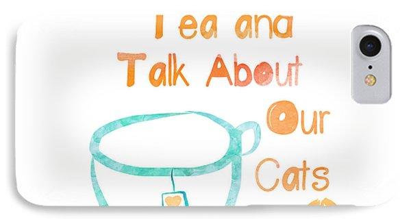 Cat iPhone 8 Case - Tea And Cats Square by Linda Woods