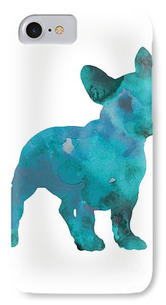 Dog iPhone 8 Case - Teal Frenchie Abstract Painting by Joanna Szmerdt