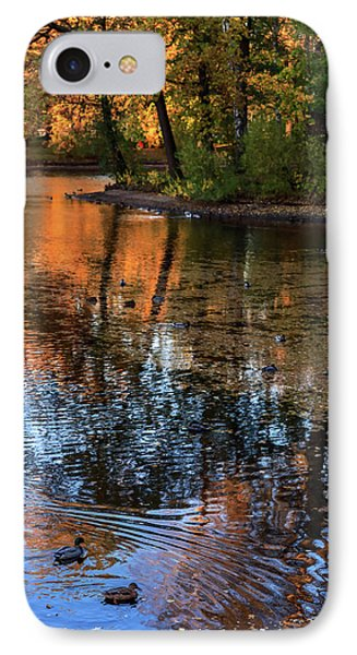 The Bright Colors Of Autumn, Quiet Evenings Are Reflected In The Waters Of The City Pond IPhone Case