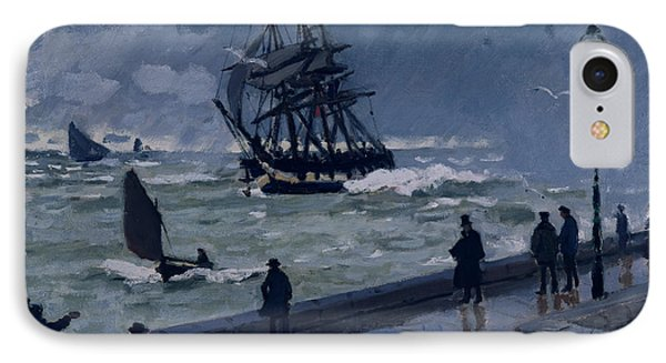 The Jetty At Le Havre In Bad Weather IPhone Case