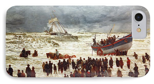 Boat iPhone 8 Case - The Lifeboat by William Lionel Wyllie