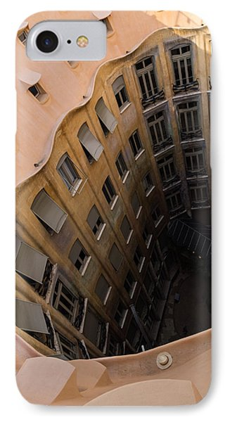 The Lost Straw Hat - Antoni Gaudi La Pedrera Courtyard From Above - Vertical IPhone Case