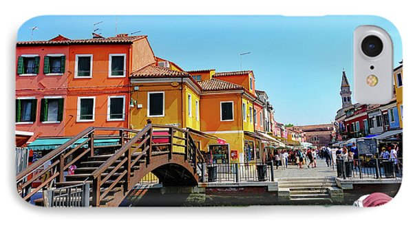 The Main Street On The Island Of Burano, Italy IPhone Case