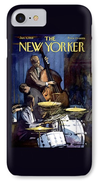 Drum iPhone 8 Case - The New Yorker Cover - January 4th, 1958 by Arthur Getz