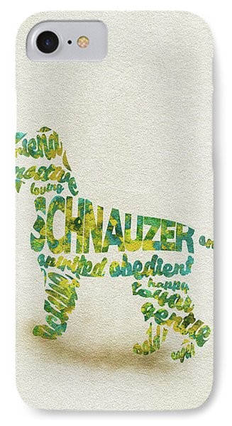 The Schnauzer Dog Watercolor Painting / Typographic Art IPhone Case