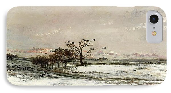 Rural Scenes iPhone 8 Case - The Snow by Charles Francois Daubigny