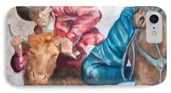 The Steer Wrestler IPhone Case