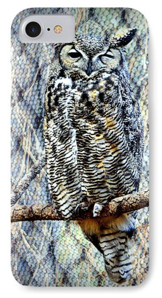 IPhone Case featuring the photograph The Textured Owl by AJ Schibig