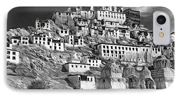 Thiksey Monastery - Paint Bw IPhone Case