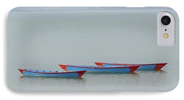 Three Blue Boats On Phewa Lake In Pokhara IPhone Case