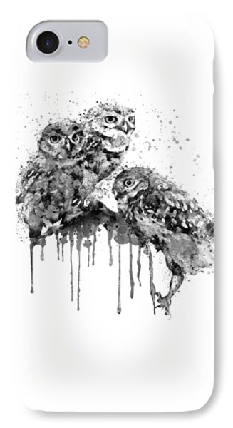 Three Cute Owls Black And White IPhone Case