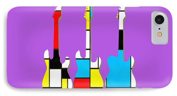 Guitar iPhone 8 Case - Three Guitars Modern Tee by Edward Fielding