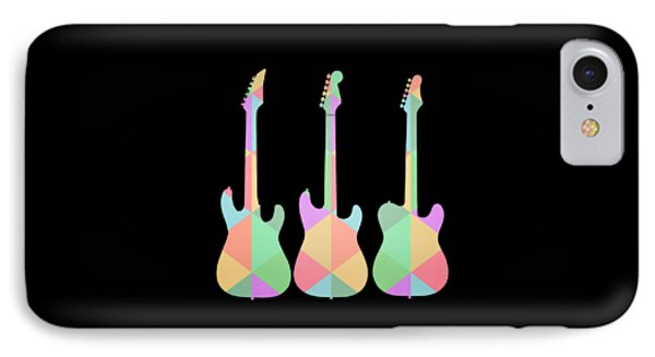Guitar iPhone 8 Case - Three Guitars Triangles Tee by Edward Fielding