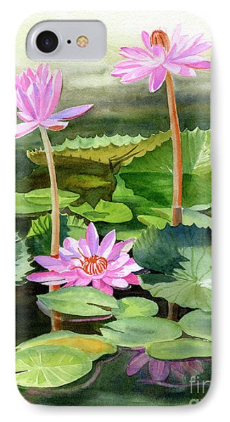 Lily iPhone 8 Case - Three Pink Water Lilies With Pads by Sharon Freeman