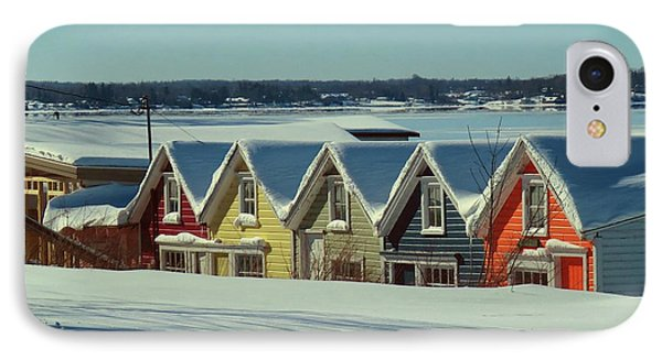 Winter View Ti Park Boathouses IPhone Case